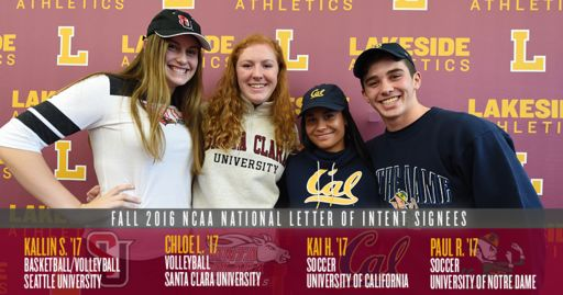 Four Lakeside athletes sign Division I letters of intent