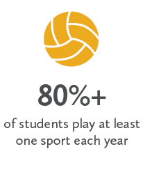 80%+ of students play at least one sport each year